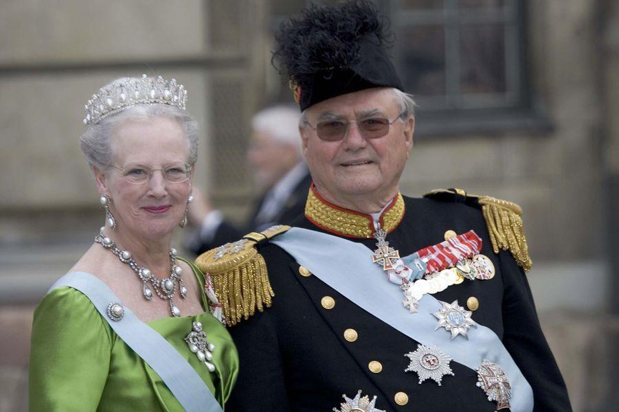 La reine Margrethe II de Danemark avec le prince Henrik, le 19 juin 2010