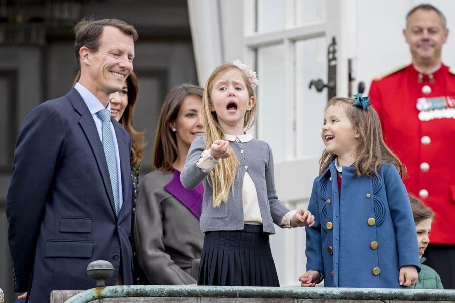 Le prince Joachim et les princesses Marie, Josephine et Athena de Danemark à Marselisborg, le 15 avril 2017