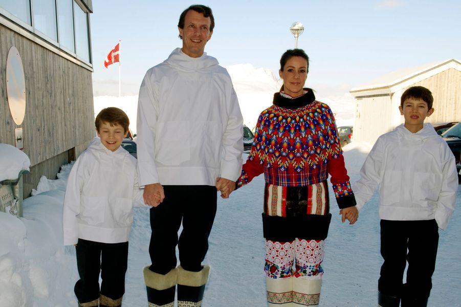 La princesse Marie avec le prince Joachim de Danemark et les princes Nikolai et Félix, le 22 mars 2011