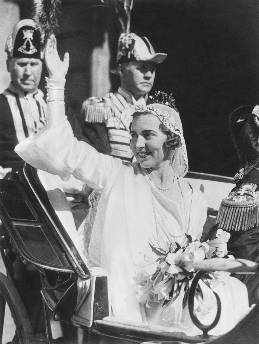 La princesse Ingrid de Suède à Stockholm le 24 mai 1935, jour de son mariage