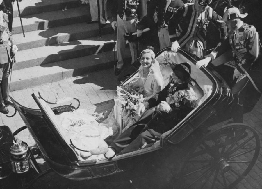 La princesse Ingrid de Suède et le prince héritier Frederik de Danemark à Stockholm le 24 mai 1935
