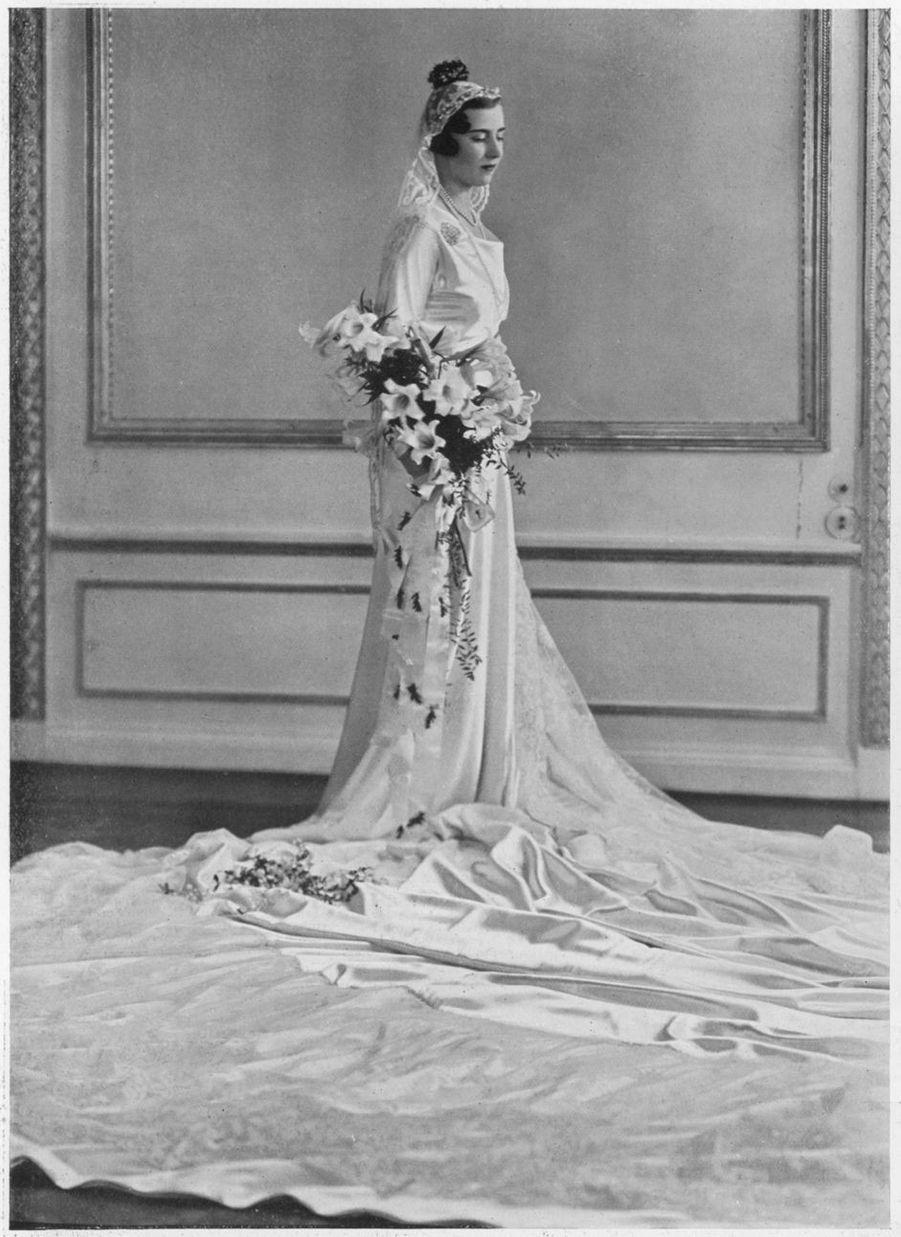 La robe de mariée de la princesse Ingrid de Suède à Stockholm le 24 mai 1935