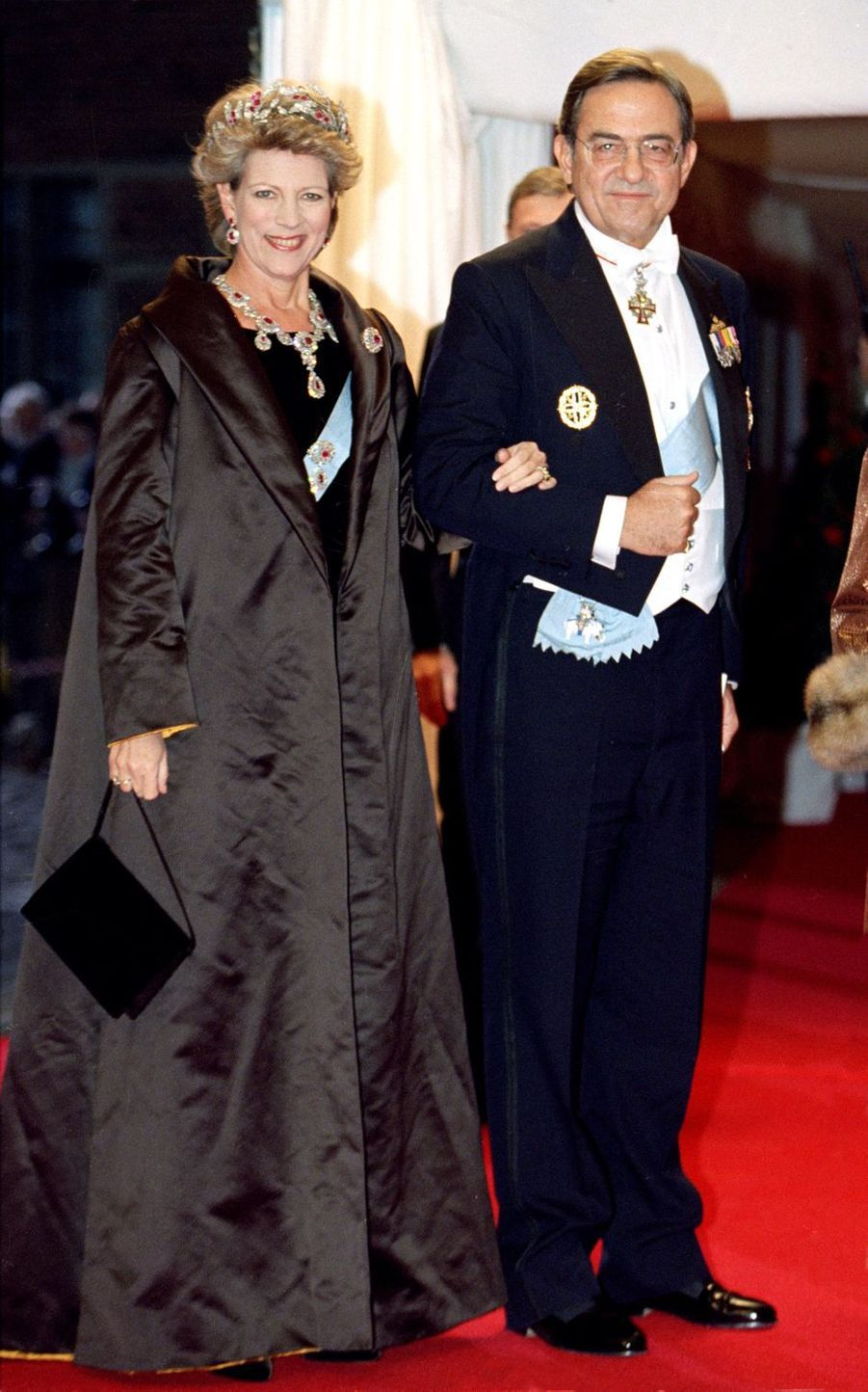 L'ex-reine Anne-Marie, tante du marié, et l'ex-roi des Héllènes Constantin II de Grèce à Frederiksborg, le 18 novembre 1995