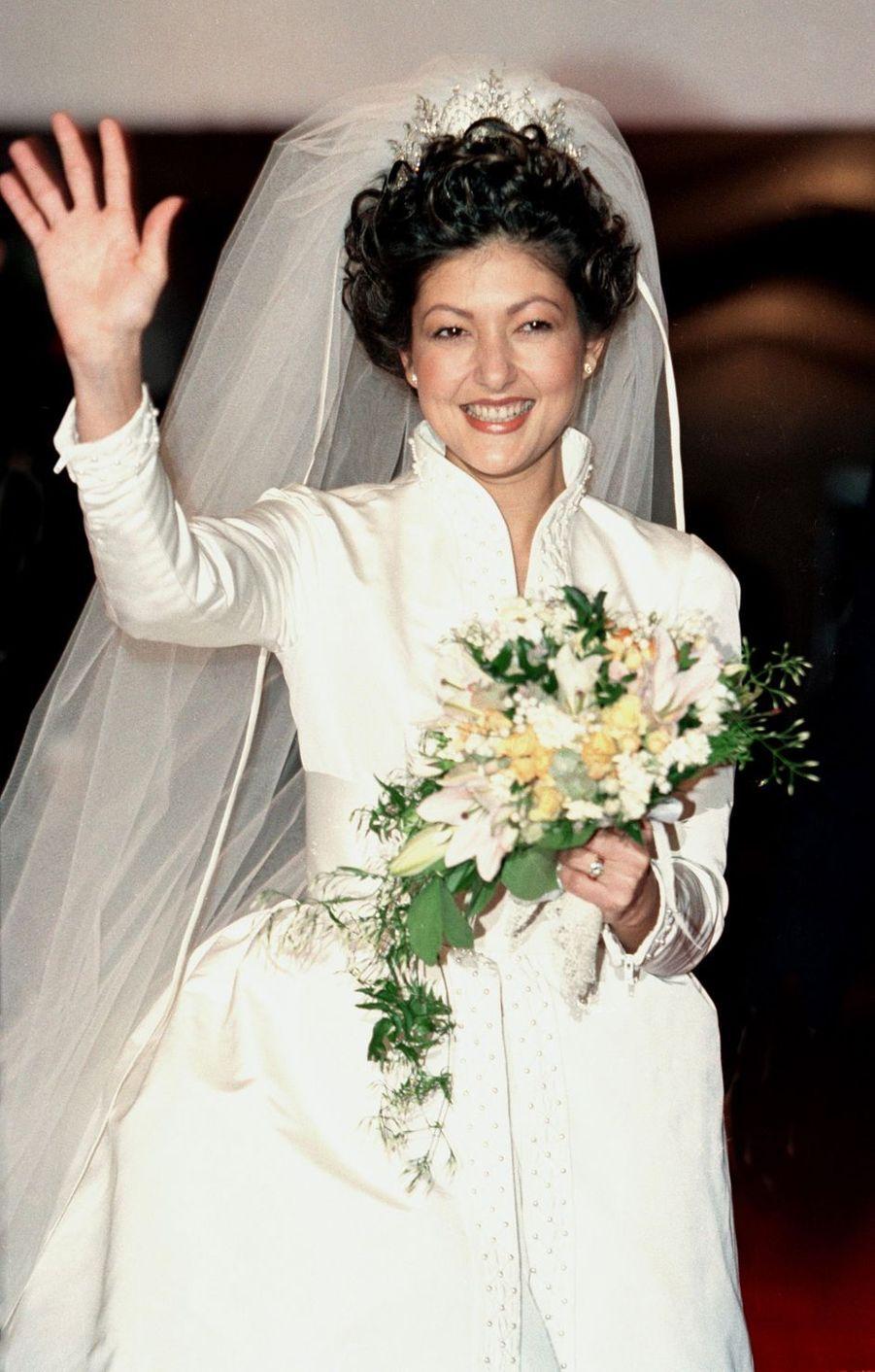 Alexandra Manley, le jour de son mariage avec le prince Joachim de Danemark à Frederiksborg, le 18 novembre 1995