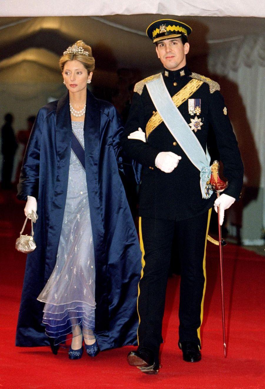 Le prince Pavlos de Grèce, cousin du marié, et la princesse Marie-Chantal à Frederiksborg, le 18 novembre 1995