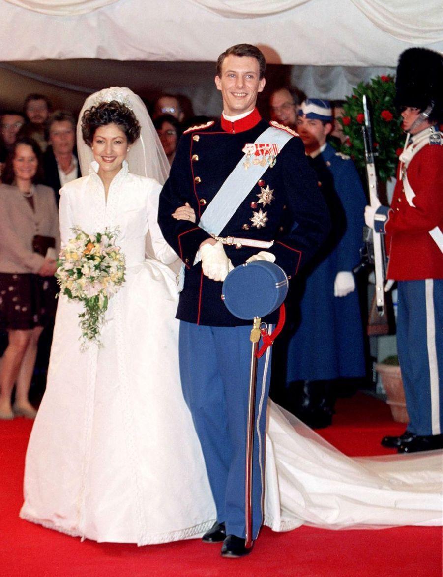 Le prince Joachim de Danemark et Alexandra Manley, le jour de leur mariage à Frederiksborg, le 18 novembre 1995