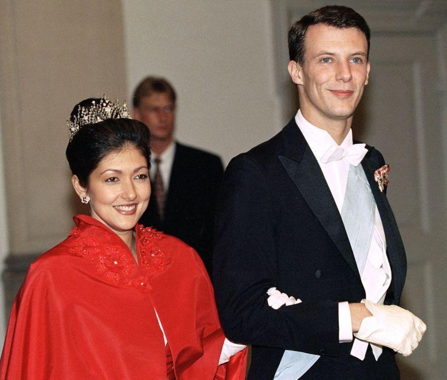 Le prince Joachim de Danemark et Alexandra Manley, lors du dîner donné à Copenhague le 17 novembre 1995, veille de leur mariage