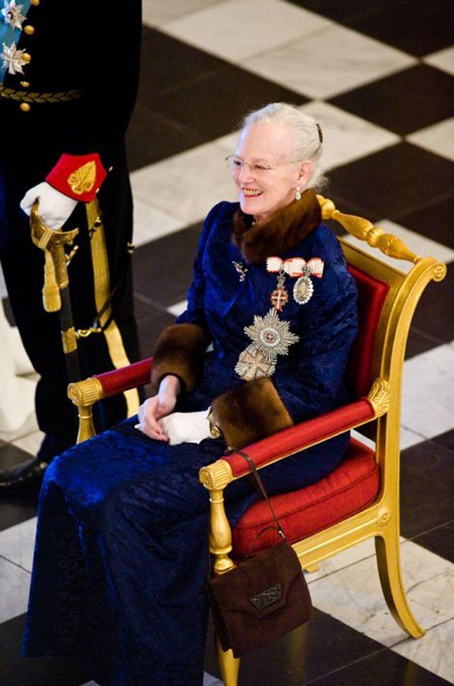 La reine Margrethe II de Danemark à la cérémonie des voeux au château de Christiansborg à Copenhague, le 5 janvier 2015