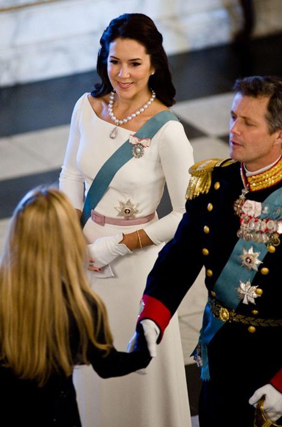 Le prince Frederik et la princesse Mary de Danemark à la cérémonie des voeux à Copenhague, le 5 janvier 2015