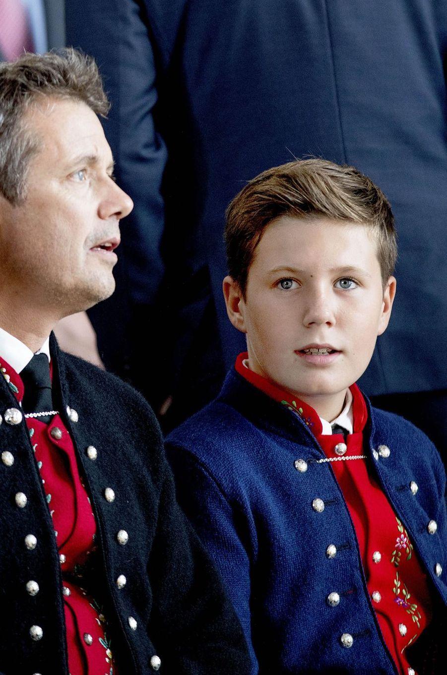 Les princes Frederik et Christian de Danemark aux îles Féroé, le 23 août 2018