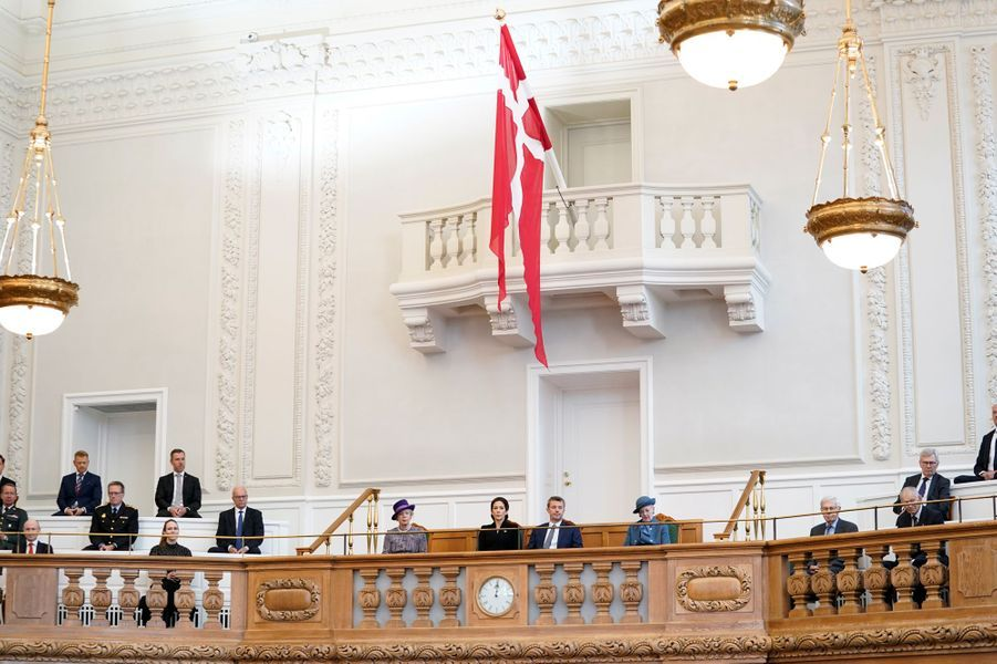 Les princesses Benedikte et Mary, le prince Frederik et la reine Margrethe II de Danemark à Copenhague, le 6 octobre 2020