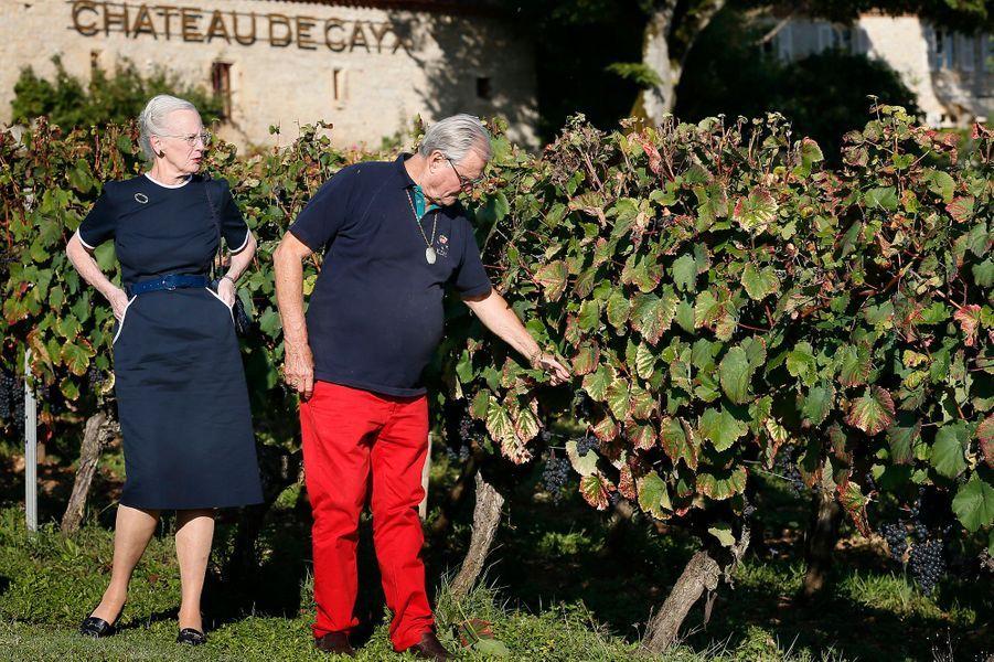 Le prince Henrik de Danemark avec la reine Margrethe II dans leur domaine viticole du château de Cayx, le 4 octobre 2014