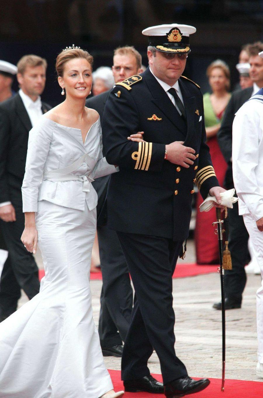La princesse Claire et le prince Laurent de Belgique à Copenhague, le 14 mai 2004