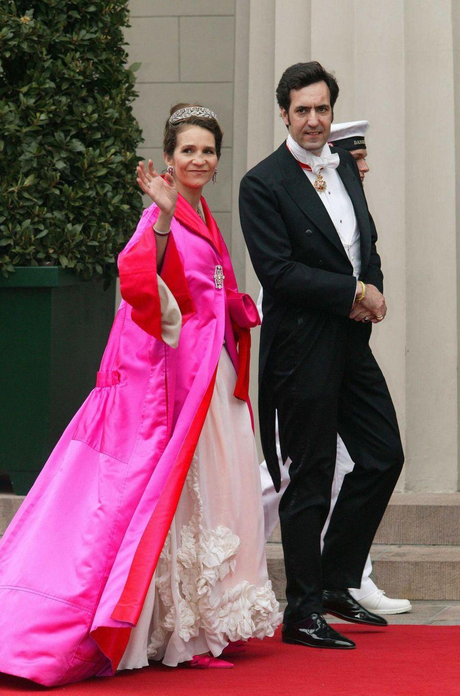 L'infante Elena d'Espagne et son mari Jaime de de Marichalar à Copenhague, le 14 mai 2004