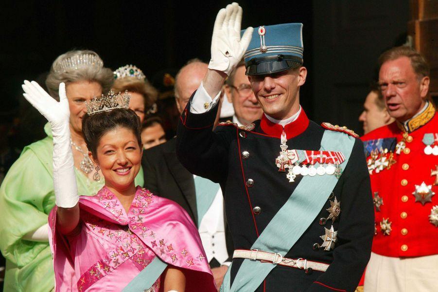 Le prince Joachim de Danemark et sa première femme Alexandra Manley à Copenhague, le 14 mai 2004