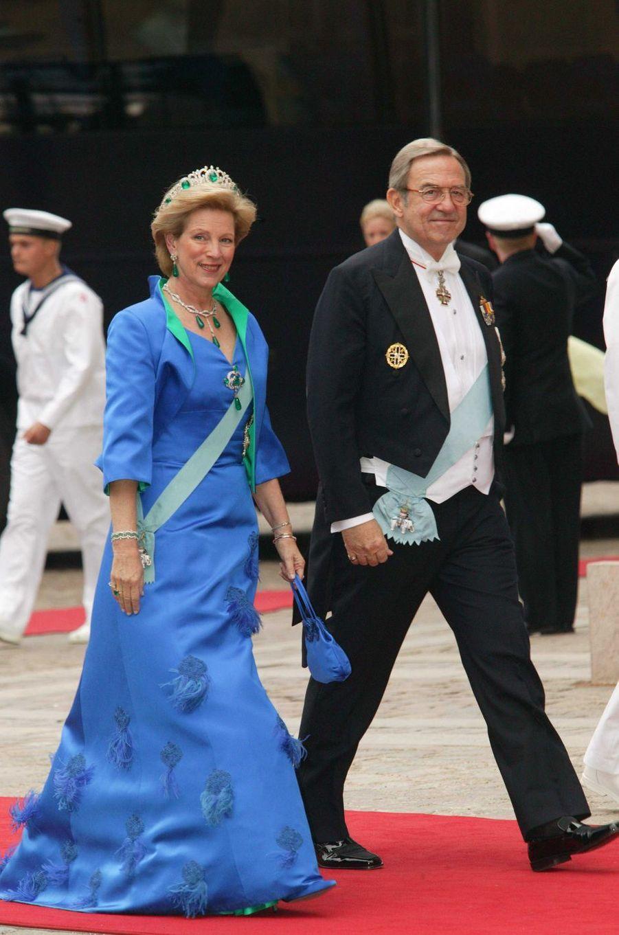 L'ancienne reine Anne-Marie et l'ancien roi Constantin II de Grèce à Copenhague, le 14 mai 2004
