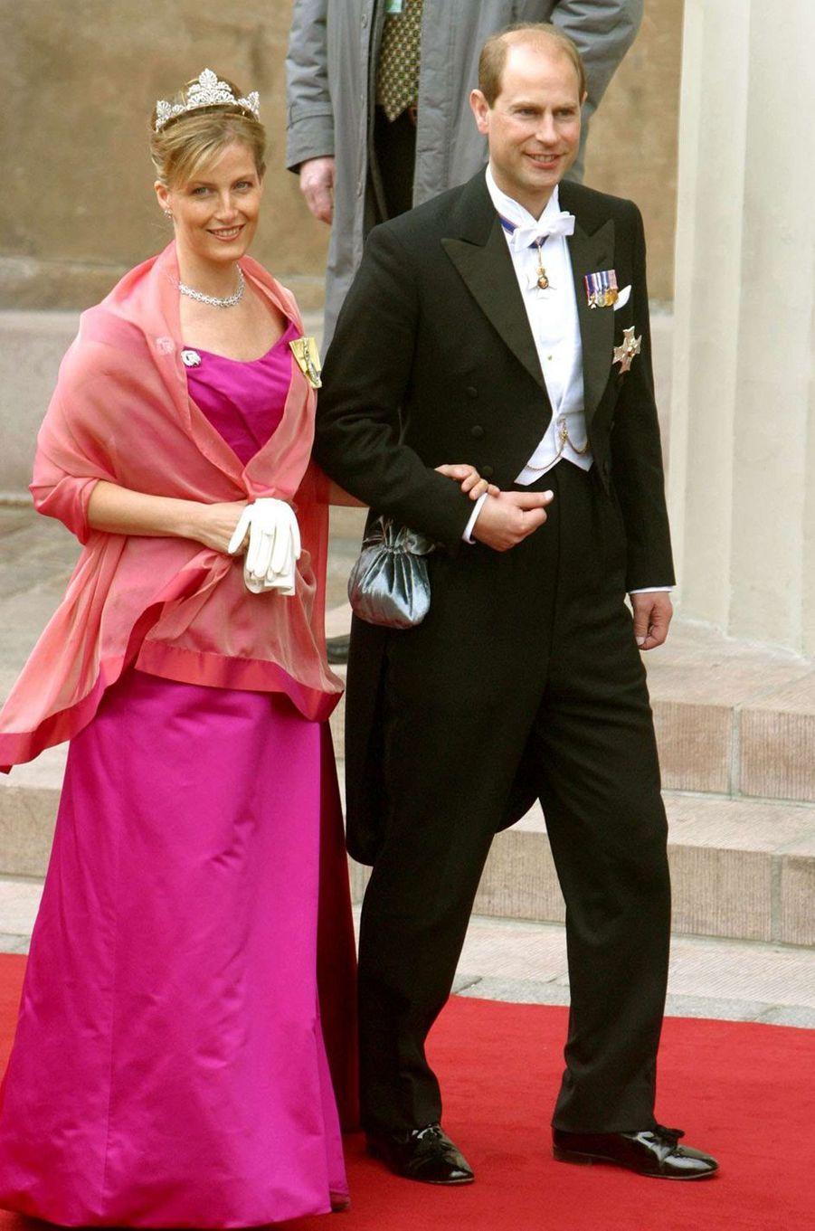 Le prince Edward d'Angleterre et sa femme la comtesse Sophie de Wessex à Copenhague, le 14 mai 2004
