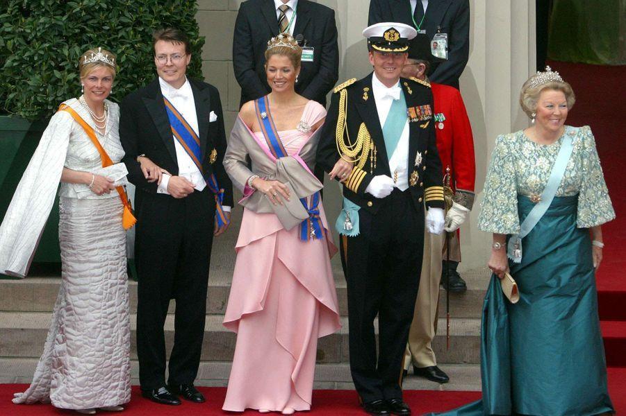 La reine Beatrix des Pays-Bas avec les princesses Laurentien et Maxima et les princes Constantijn et Willem-Alexander à Copenhague, le 14 mai 2004