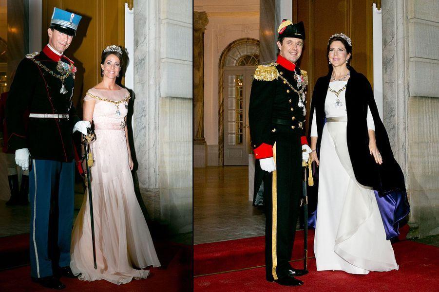 Les princesses Marie et Mary de Danemark avec leurs maris pour le dîner de gala du Nouvel An, le 1er janvier 2015
