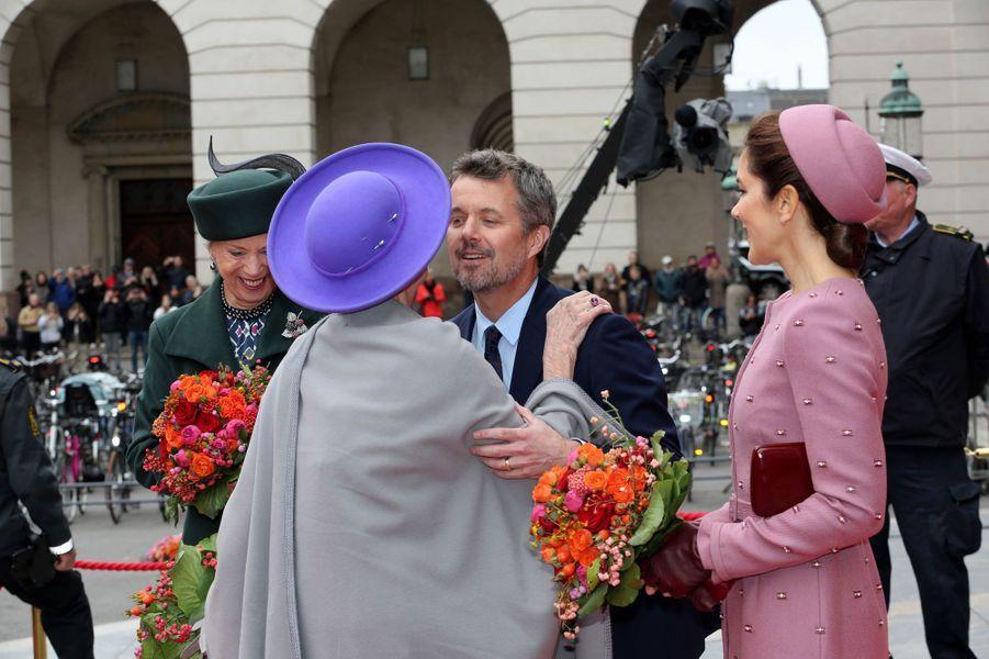 Les princesses Benedikte et Mary, le prince Frederik et la reine Margrethe II de Danemark, à Copenhague le 1er octobre 2019