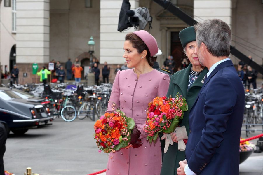 Les princesses Mary et Benedikte et le prince Frederik de Danemark, à Copenhague le 1er octobre 2019