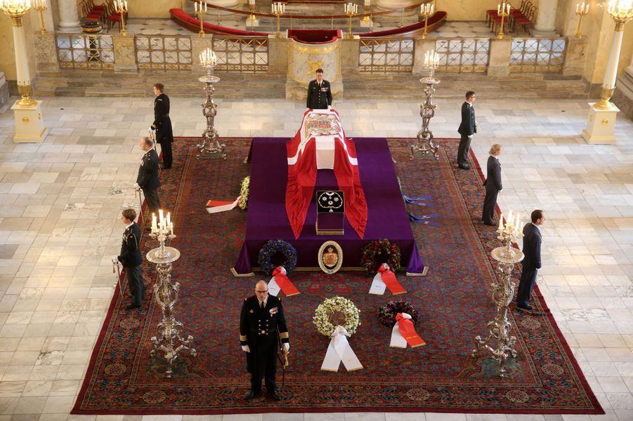 Le castrum doloris du prince consort Henrik de Danemark à Copenhague, le 17 février 2018