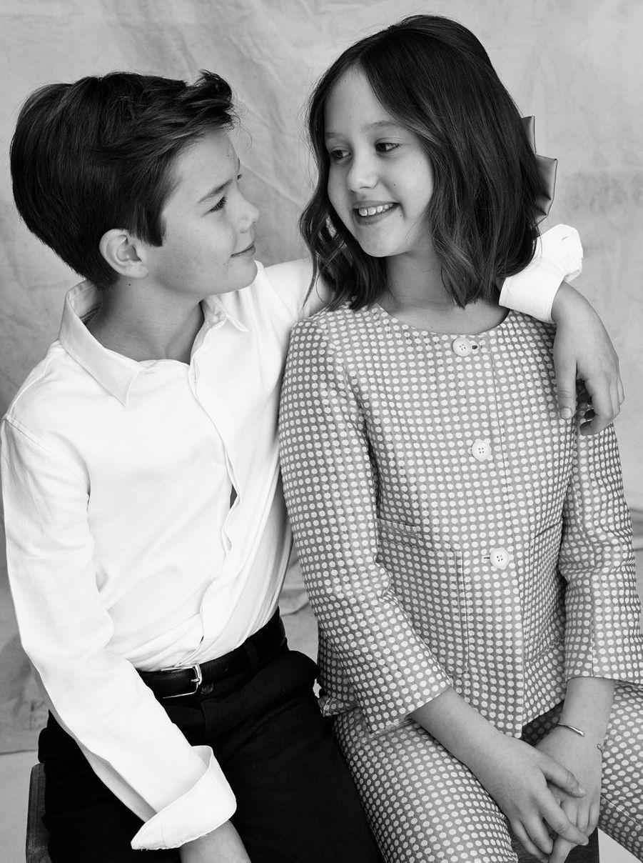 Le prince Vincent et la princesse Josephine de Danemark. Portrait en noir et blanc diffusé le 8 janvier 2021 pour leurs 10 ans