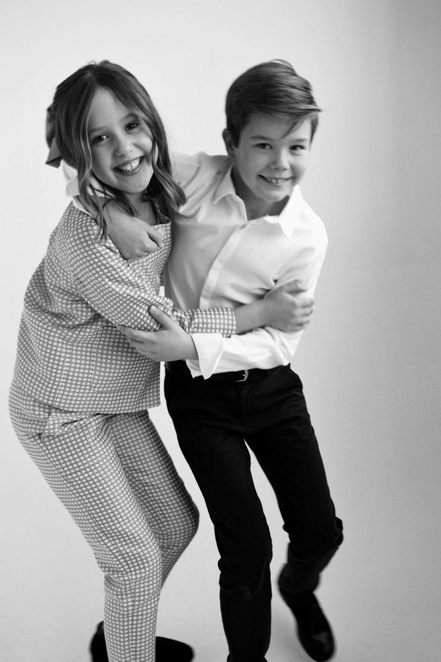 La princesse Josephine et le prince Vincent de Danemark. Portrait en noir et blanc diffusé le 8 janvier 2021 pour leurs 10 ans