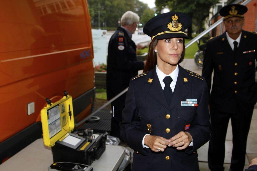 La princesse Marie de Danemark en uniforme à Copenhague, le 7 septembre 2017