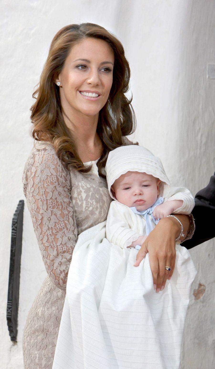 La princesse Marie de Danemark lors du baptême du prince Henrik, le 27 juillet 2009