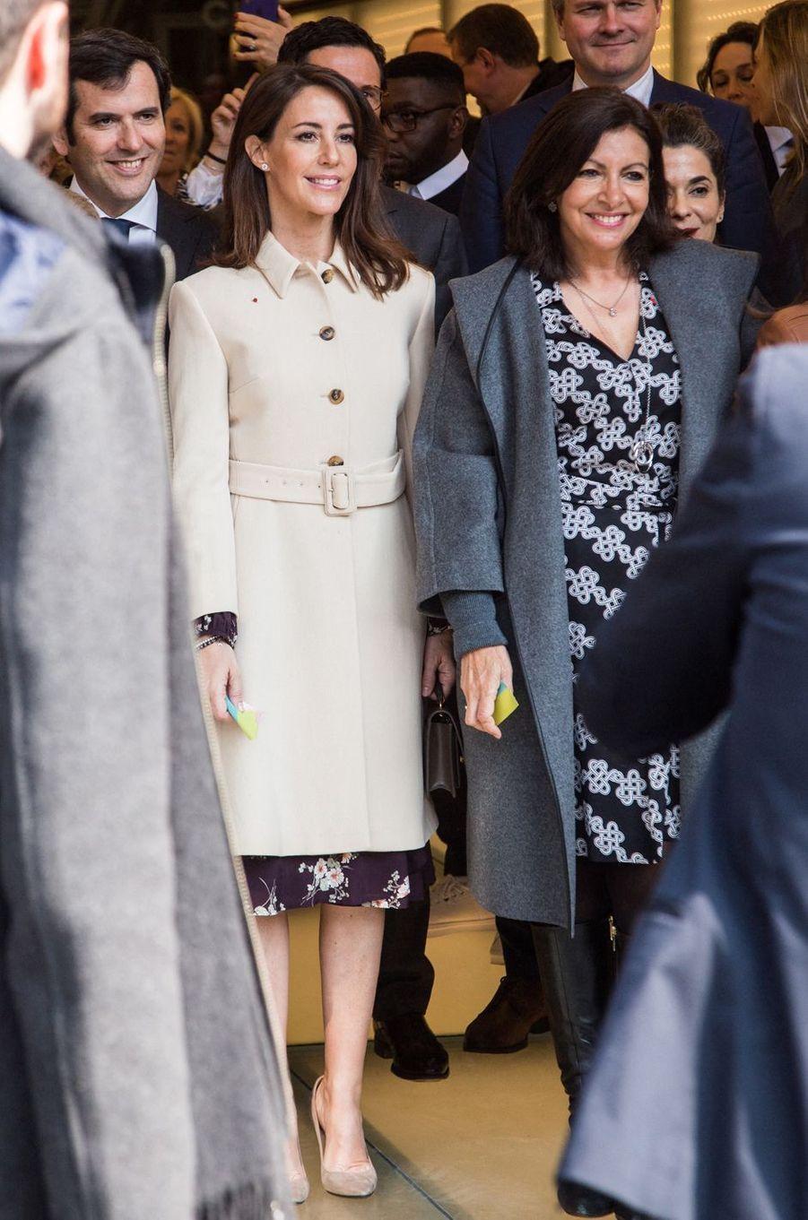 La princesse Marie de Danemark et Anne Hidalgo à Paris, le 28 mars 2019