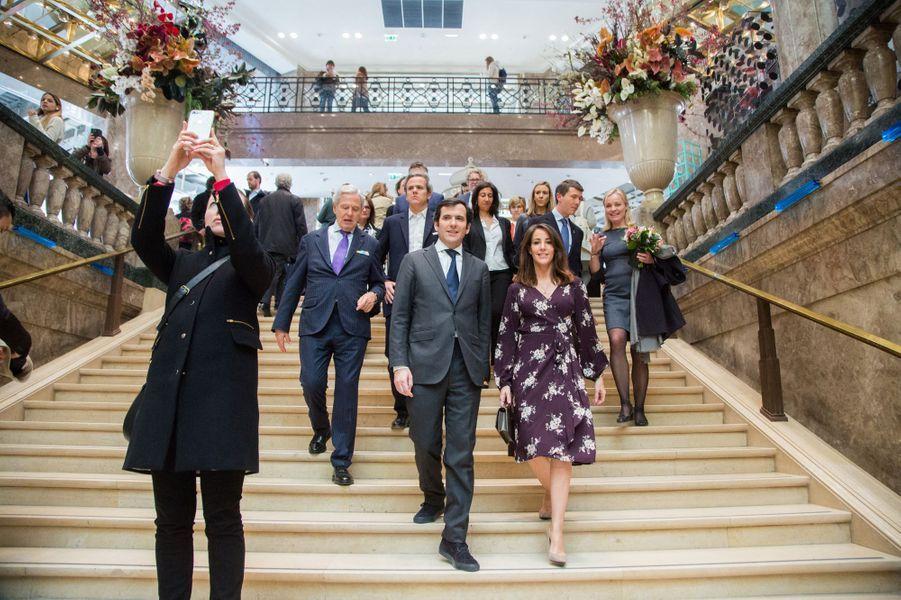 La princesse Marie de Danemark avecNicolas Houzé, directeur général des Galeries Lafayette, à Paris le 28 mars 2019