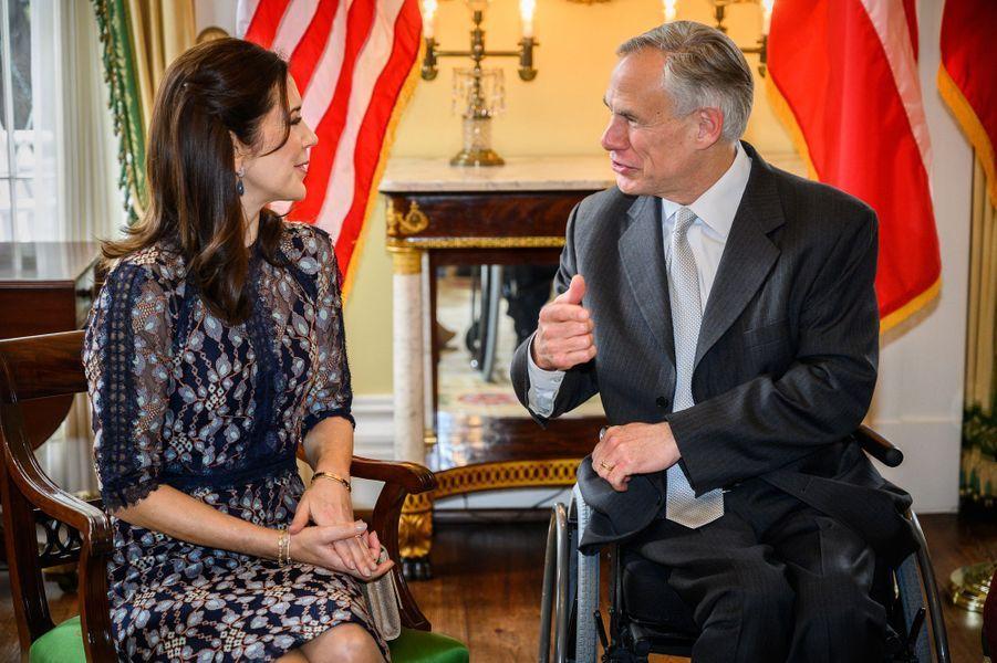 La princesse Mary de Danemark avec le gouverneur du Texas à Austin, le 11 mars 2019