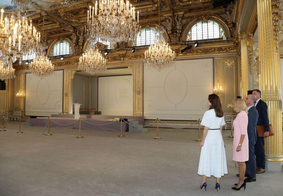La princesse Mary de Danemark avec Brigitte Macron et Jean-Michel Blanquer au Palais de l'Elysée à Paris, le 24 juin 2019