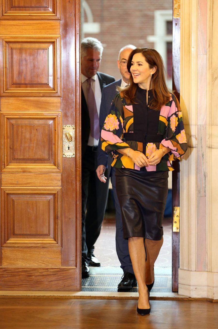 La princesse Mary de Danemark à l'Hôtel de ville de Copenhague, le 28 octobre 2019
