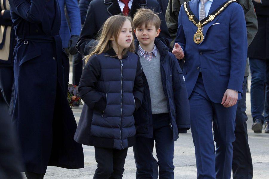 Les jumeaux, la princesse Josephine et le prince Vincent de Danemark, à Copenhague le 11 avril 2019