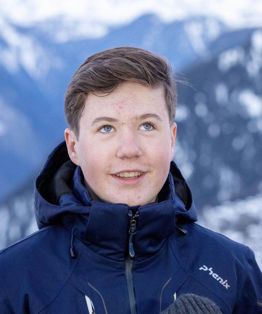 Le prince Christian de Danemark à Verbier en Suisse, le 6 janvier 2020