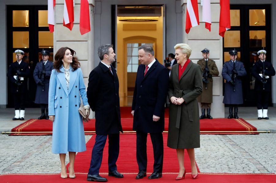 La princesse Mary et le prince Frederik de Danemark avec le couple présidentiel polonais à Varsovie, le 25 novembre 2019