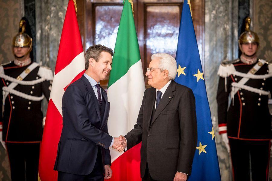 Le prince Frederik de Danemark avec Sergio Mattarella à Rome, le 6 novembre 2018
