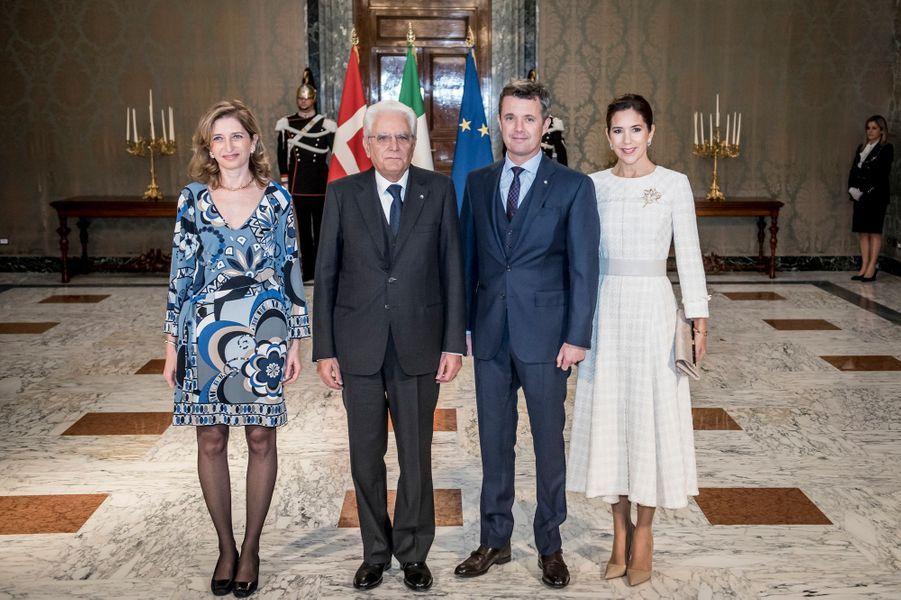 La princesse Mary et le prince Frederik de Danemark avec Sergio et Laura Mattarella à Rome, le 6 novembre 2018