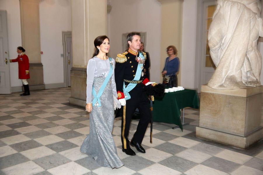 La princesse Mary et le prince Frederik de Danemark au château de Christiansborg à Copenhague, le 3 janvier 2019
