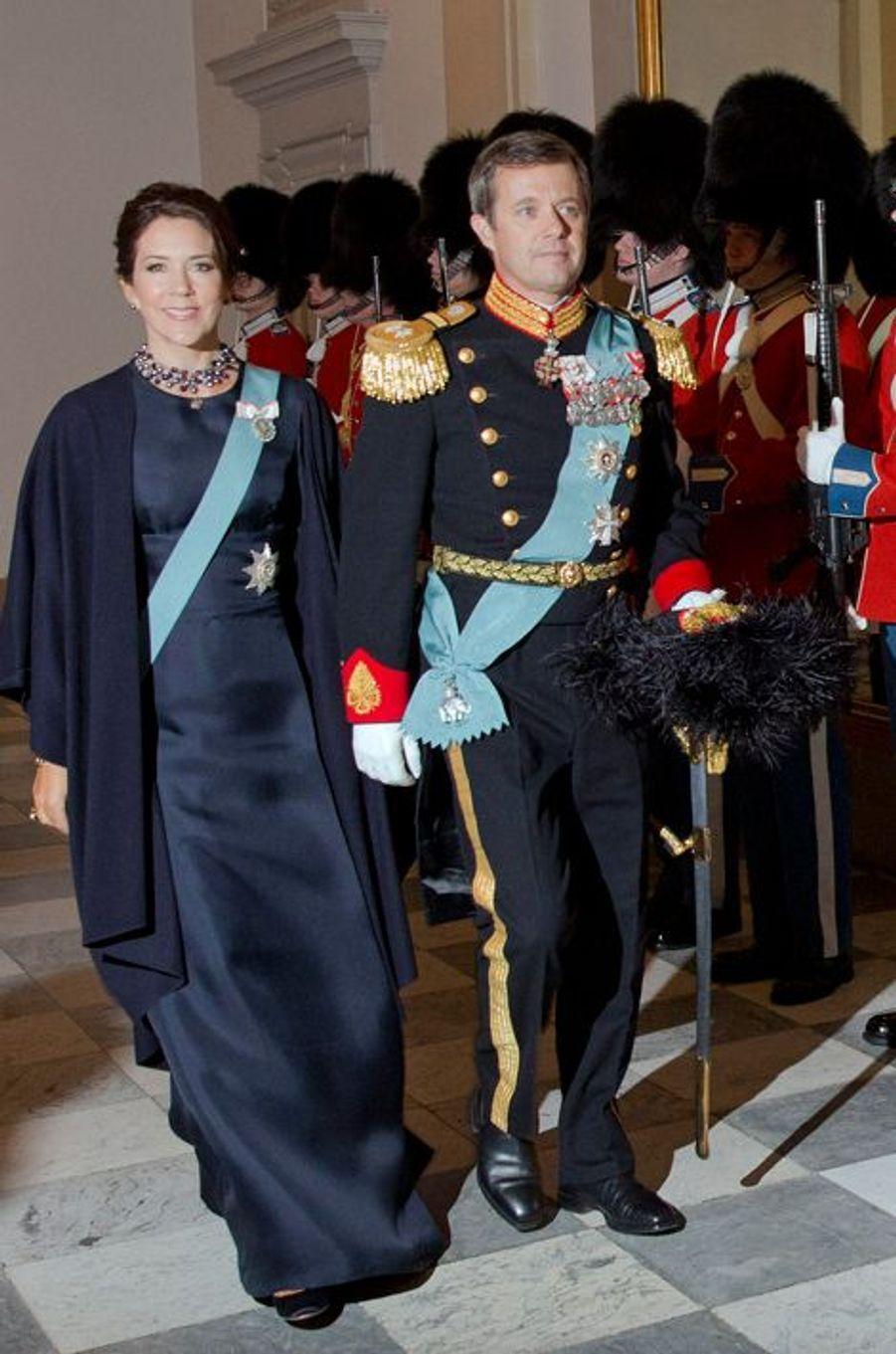 La princesse Mary et le prince Frederik de Danemark au château de Christiansborg à Copenhague, le 6 janvier 2016
