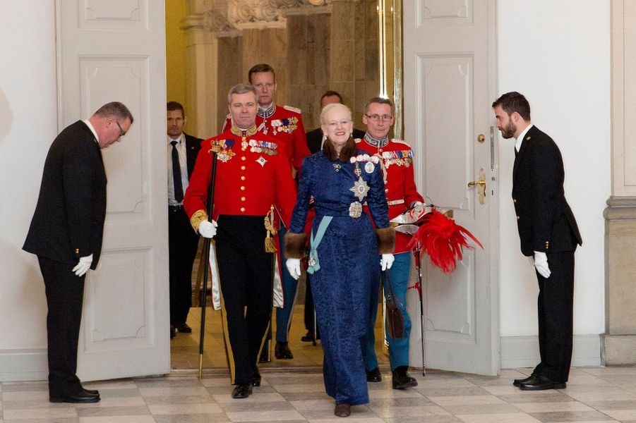 La reine Margrethe II de Danemark au château de Christiansborg à Copenhague, le 6 janvier 2016
