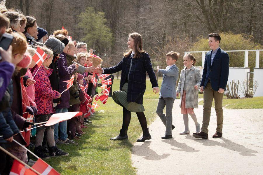 Les princesses Isabella et Josephine et les princes Vincent et Christian de Danemark à Aarhus, le 16 avril 2019