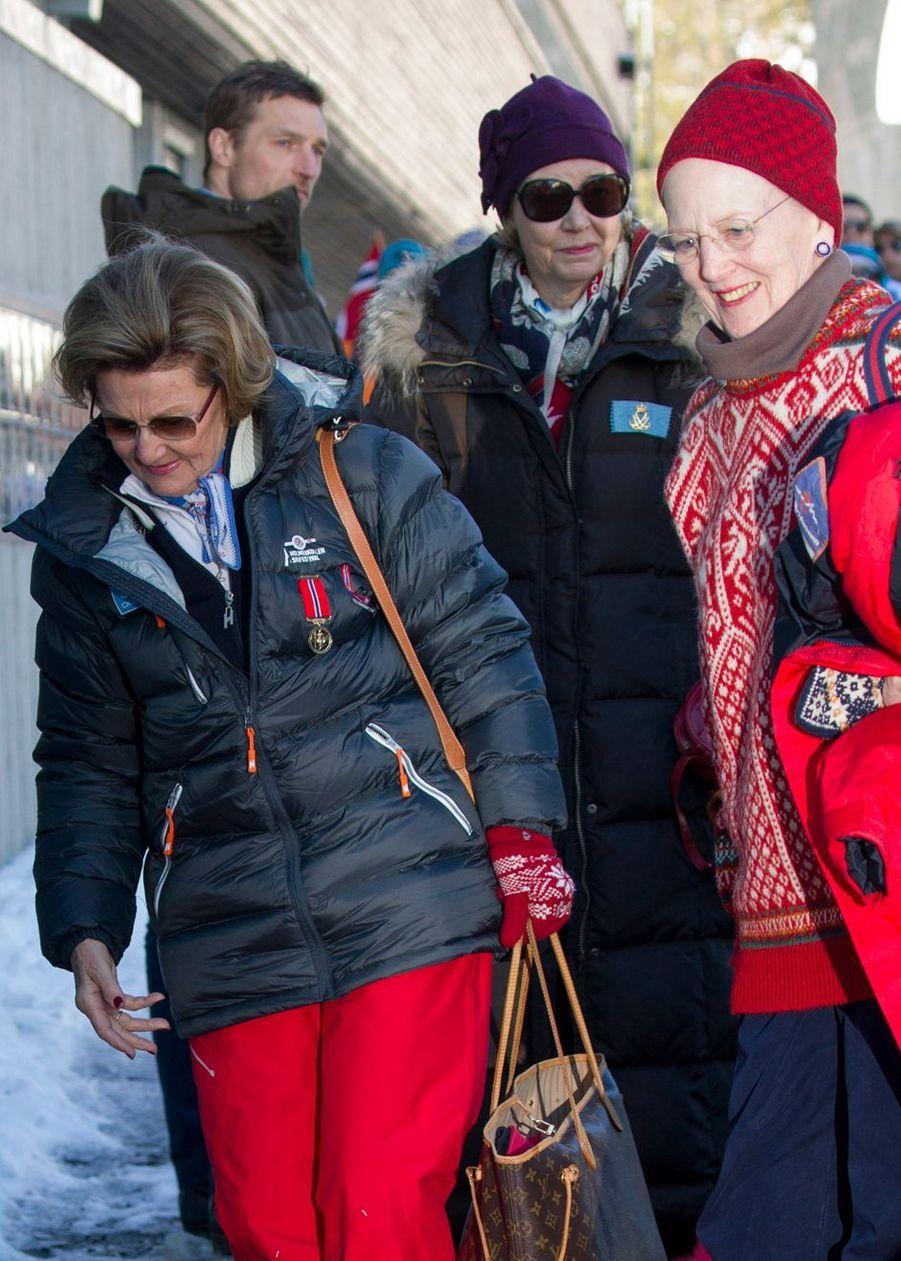 Les reines Sonja de Norvège et Margrethe II de Danemark à Oslo, le 10 mars 2019
