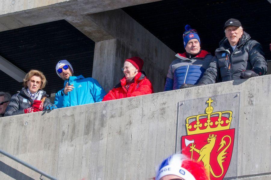 La reine Margrethe II de Danemark avec la famille royale de Norvège à Oslo, le 10 mars 2019