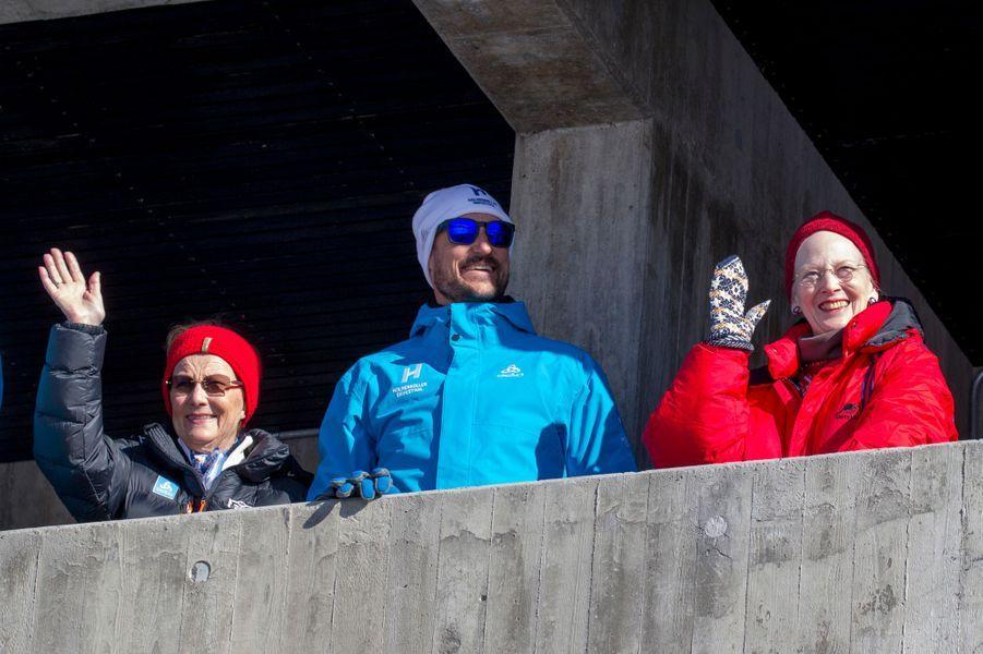 La reine Margrethe II de Danemark avec la reine Sonja et le prince Haakon de Norvège à Oslo, le 10 mars 2019