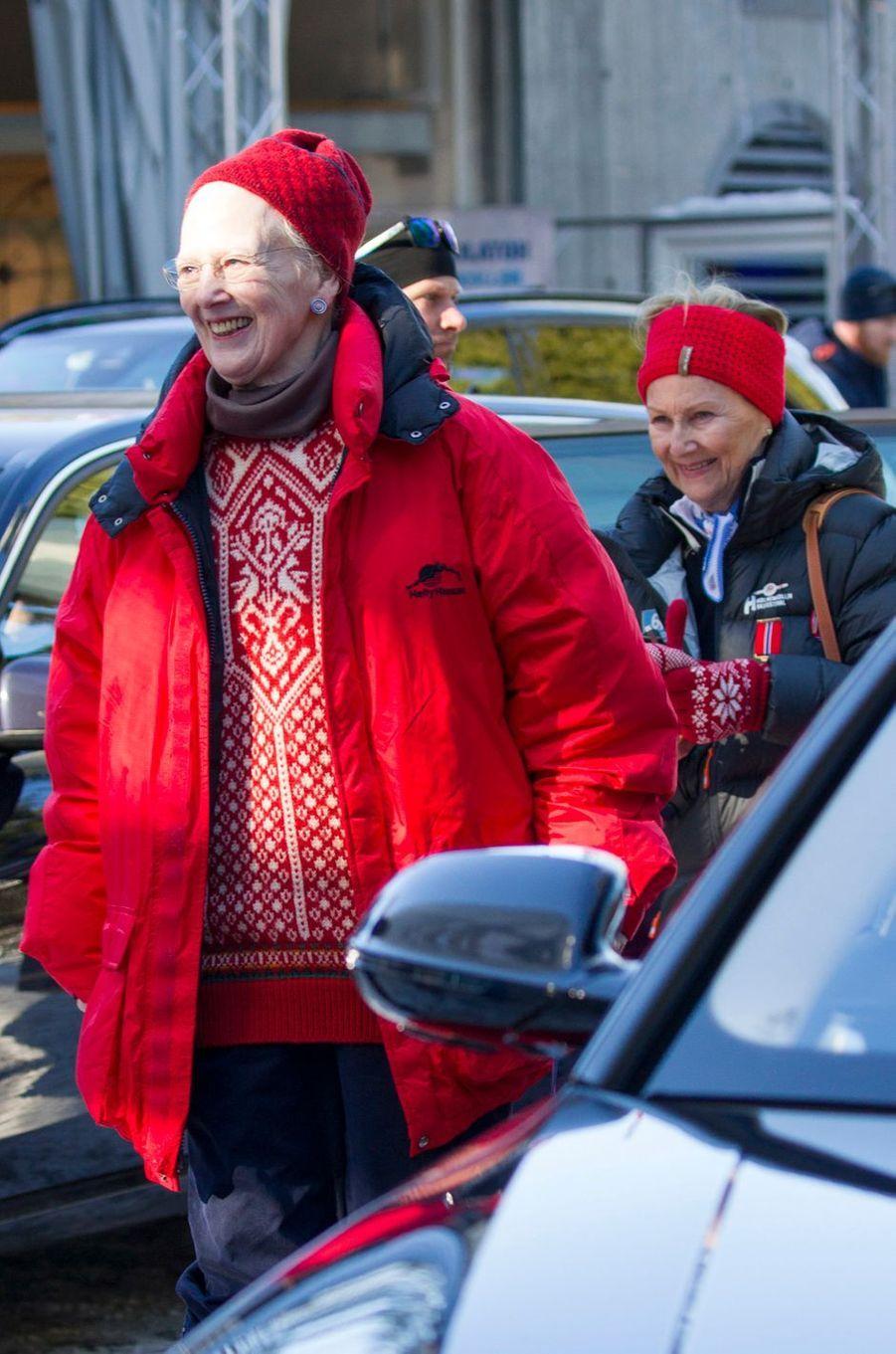 La reine Margrethe II de Danemark avec la reine Sonja de Norvège à Oslo, le 10 mars 2019