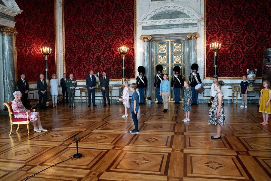 La reine Margrethe II de Danemark du château de Christiansborg à Copenhague, le 16 juin 2020