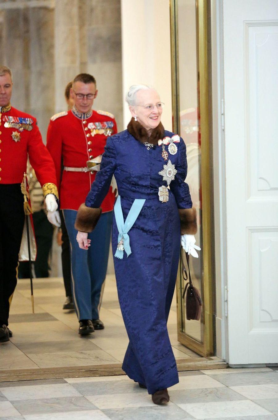 """La reine Margrethe II de Danemark, dans sa """"robe des voeux"""" à Copenhague, le 2 janvier 2019"""